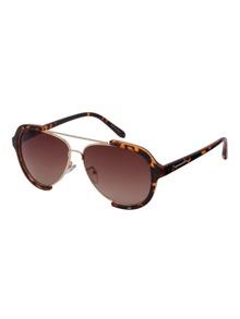 Brown Leopard Print Open Frame Double Bridge Aviator Sunglasses