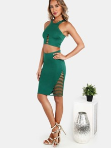 90's Neck Crop Top and Strappy Mini Skirt HUNTER GREEN