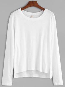 Dip Hem Split White T-shirt