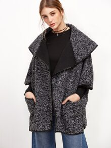 Black Shawl Collar Slit Side Cape Coat