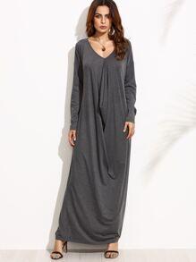 Heather Grey Drop Shoulder Draped Cocoon Dress