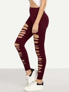 Burgundy Cut Out Elastic Waist Leggings