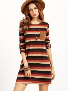 Multicolor Striped Roll Sleeve Dress With Patch Pocket