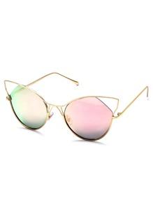 Gold Frame Pink Cat Eye Sunglasses