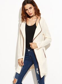 Apricot Contrast Faux Leather Binding Wrap Coat