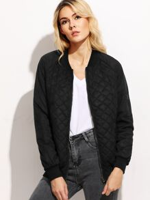 Black Quilted Padded Zip Up Bomber Jacket