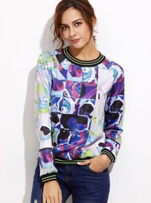 Purple Abstract Print Striped Trim Sweatshirt