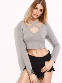 Heather Grey Crisscross Neck Crop T-shirt