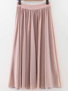 Pink Pleated Elastic Waist Midi Skirt