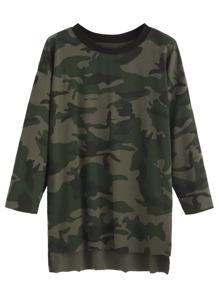 Camo Print High Low T-shirt