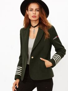 Army Green Patch Striped Sleeve Military Blazer