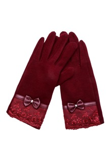 Burgundy Lace Trim Bow Gloves