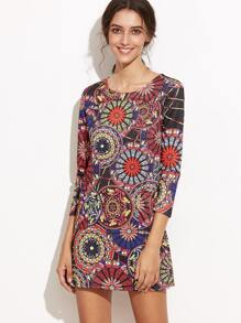Vintage Print Pockets Shift Dress