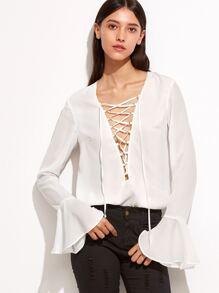 White Lace Up Plunge Neck Ruffle Sleeve Blouse
