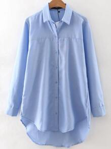 Blue Button Up High Low Blouse