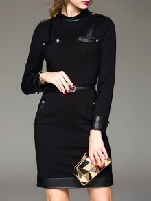 Black Contrast Pu Belted Sheath Dress