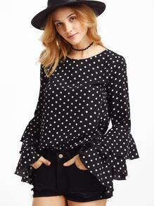 Black Polka Dot Print Layered Sleeve Blouse