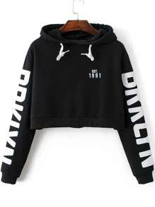 Black Letter Print Hooded Crop Sweatshirt