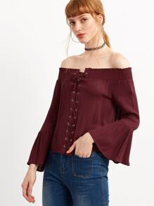 Off The Shoulder Bell Sleeve Lace Up Blouse