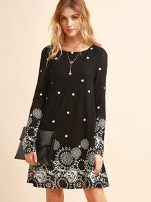 Black Retro Circle Print Tunic Dress