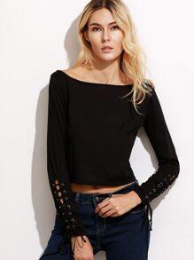 Black Scoop Neck Lace Up Crop T-shirt