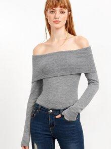 Grey Off The Shoulder Foldover Knit Bodysuit
