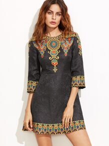 Black Vintage Print A Line Jacquard Dress