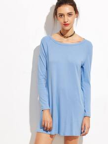 Blue Long Sleeve Tee Dress