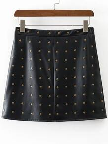 Black Studded Embellished PU A Line Skirt