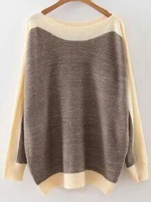 Coffee Color Block Boat Neck Drop Shoulder Knitwear