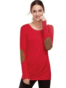 Red Long Sleeve Elbow Patch T-Shirt