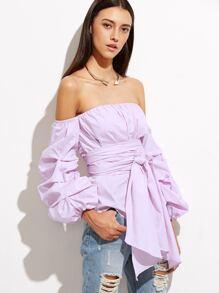 Purple Off The Shoulder Billow Sleeve Wrap Blouse