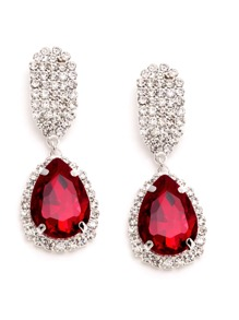 Red Rhinestone Encrusted Drop Earrings