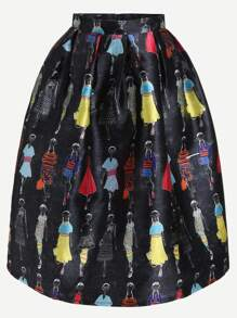 Black Girls Print Box Pleated Skirt