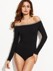 Black Off The Shoulder Striped Trim Bodysuit