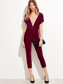 Deep V Neck Zipper Back Velvet Jumpsuit