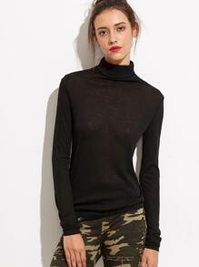 Black Turtleneck Long Sleeve T-shirt