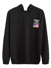 Black American Flag Print Hooded Sweatshirt