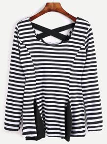 Contrast Striped Criss Cross Back Peplum T-shirt