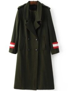 Army Green Epaulet Double Breasted Coat