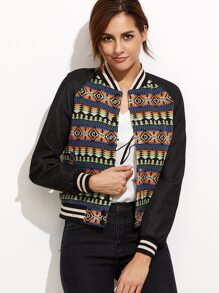 Multicolor Tribal Pattern Raglan Sleeve Baseball Jacket