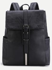 Black PU Buckle Strap Flap Backpack