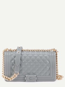 Light Grey Quilted Jelly Bag With Chain