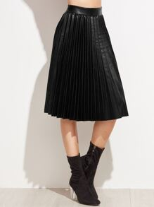 Black PU Pleated Knee Length Skirt