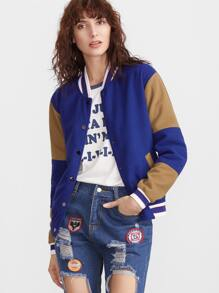 Color Block Striped Trim Button Front Baseball Jacket