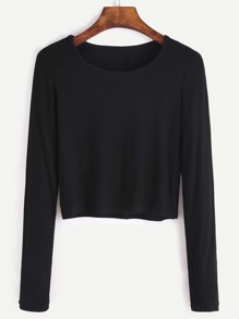 Black Long Sleeve Crop T-shirt