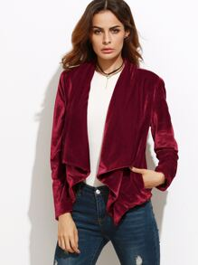 Burgundy Waterfall Collar Velvet Blazer