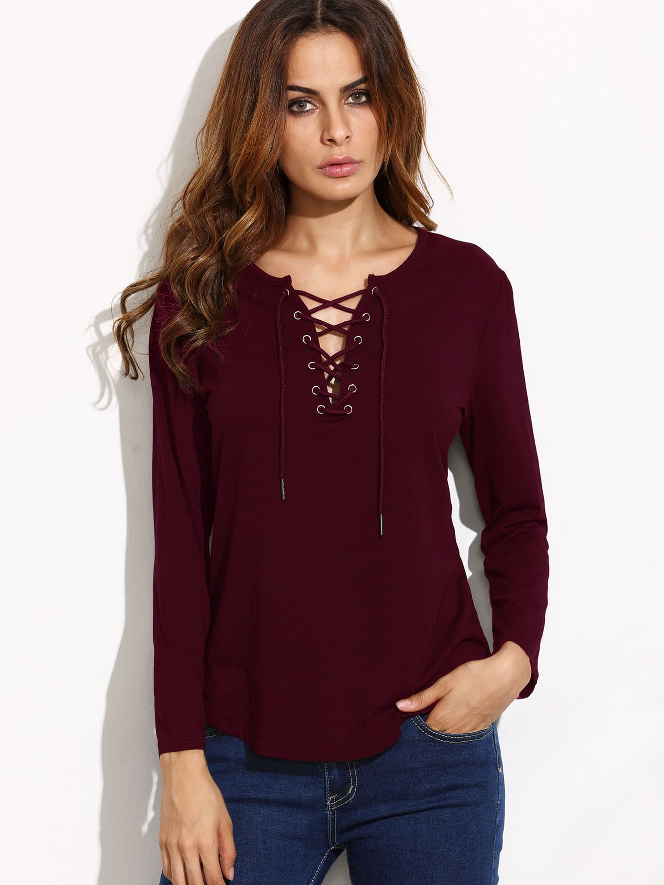 Burgundy Lace Up Long Sleeve T Shirt Emmacloth Women Fast