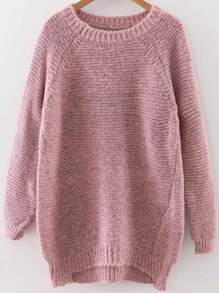 Pink Raglan Sleeve Dip Hem Sweater