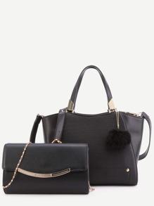 Black PU Pom Pom Trim Convertible Handbag With Chain Bag